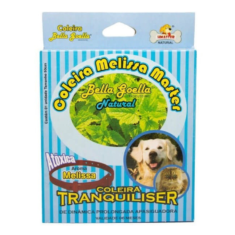 Coleira Natural Antiestresse Tranquiliser Melissa Master Plus para Cães e Gatos - Bella Goella (50 cm)