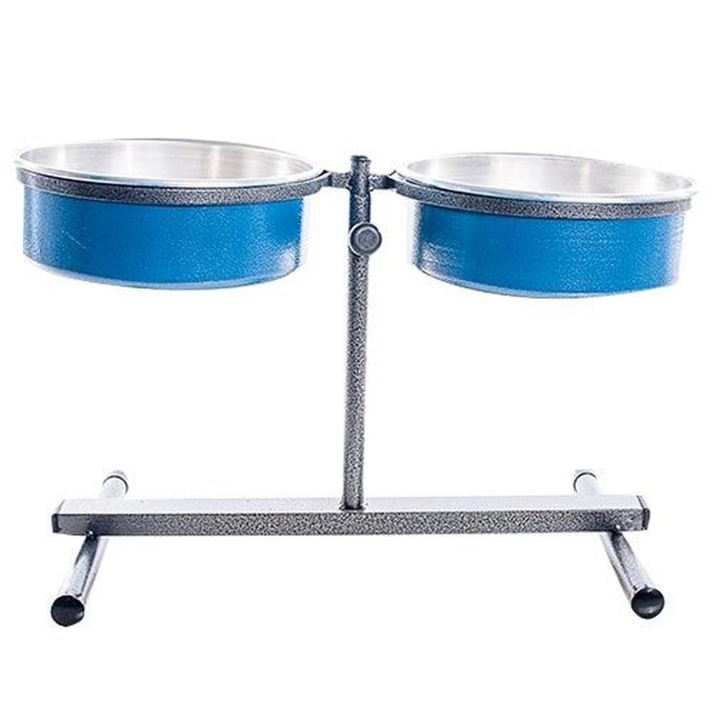 Comedouro Duplo Premium Ajustável Mini 1,2l - NF Pet (Azul)