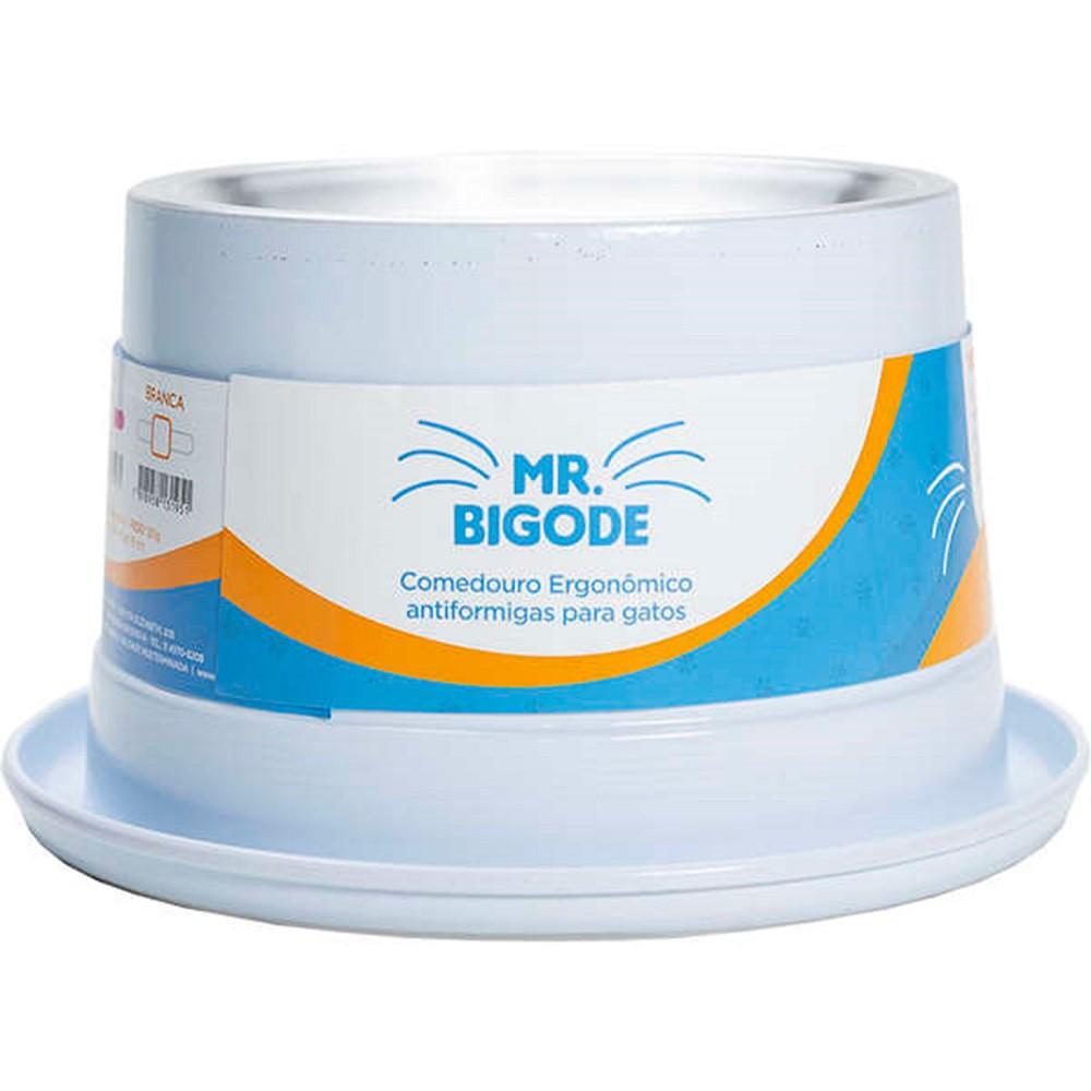 Comedouro Ergonômico Antiformigas Mr. Bigodes para Gatos 250 ml  - NF Pet (Branco)