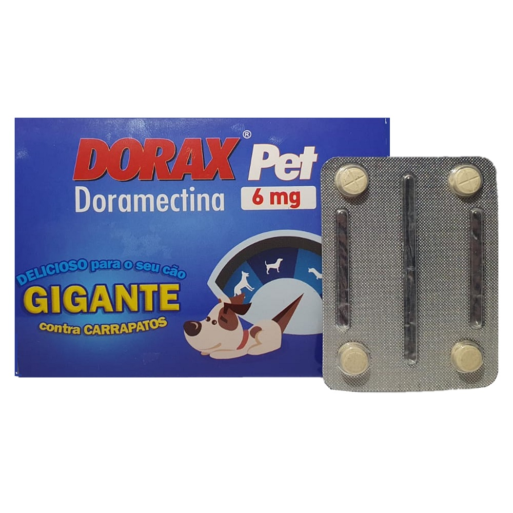 Dorax Pet 6mg - Carrapaticida á base de Doramectina para Cães - Agener (4 comprimidos)