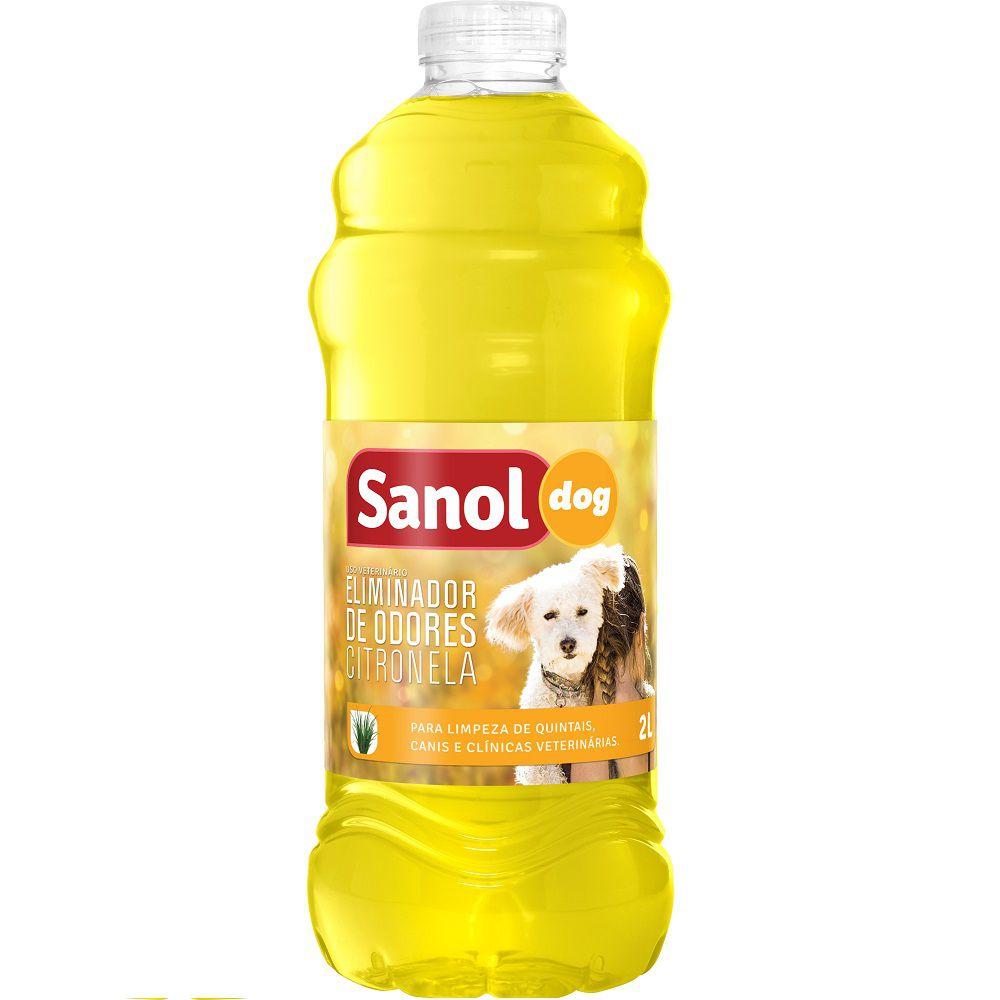 Eliminador de Odores Citronela Sanol Dog- Para Limpeza de quintais, canis e clínicas veterinárias (2l) - Total Química