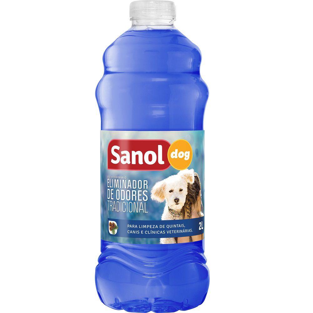 Eliminador de Odores Tradicional Sanol Dog- Para Limpeza de quintais, canis e clínicas veterinárias (2l) - Total Química