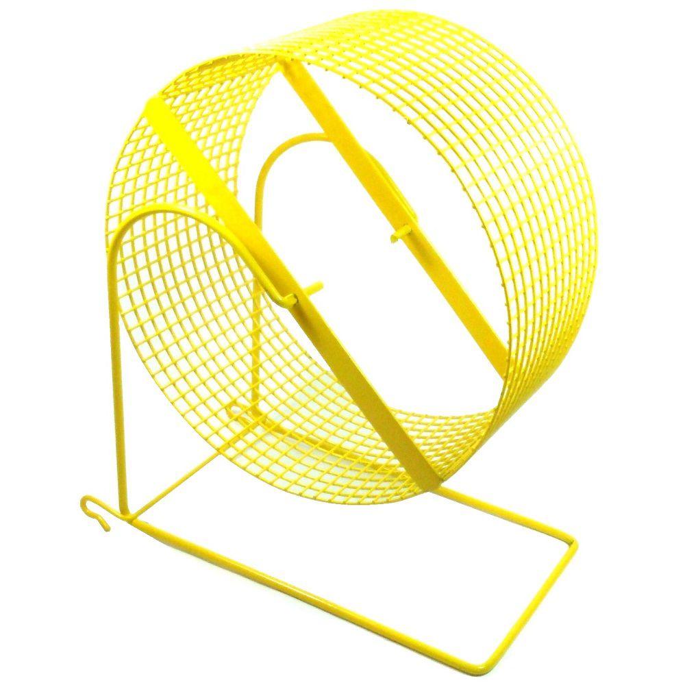 Exercitador de arame Gira-gira Rodinha para Hamster sírio e Gerbil - GR 007 (20 cm de diâmetro) - Bragança (Amarela)