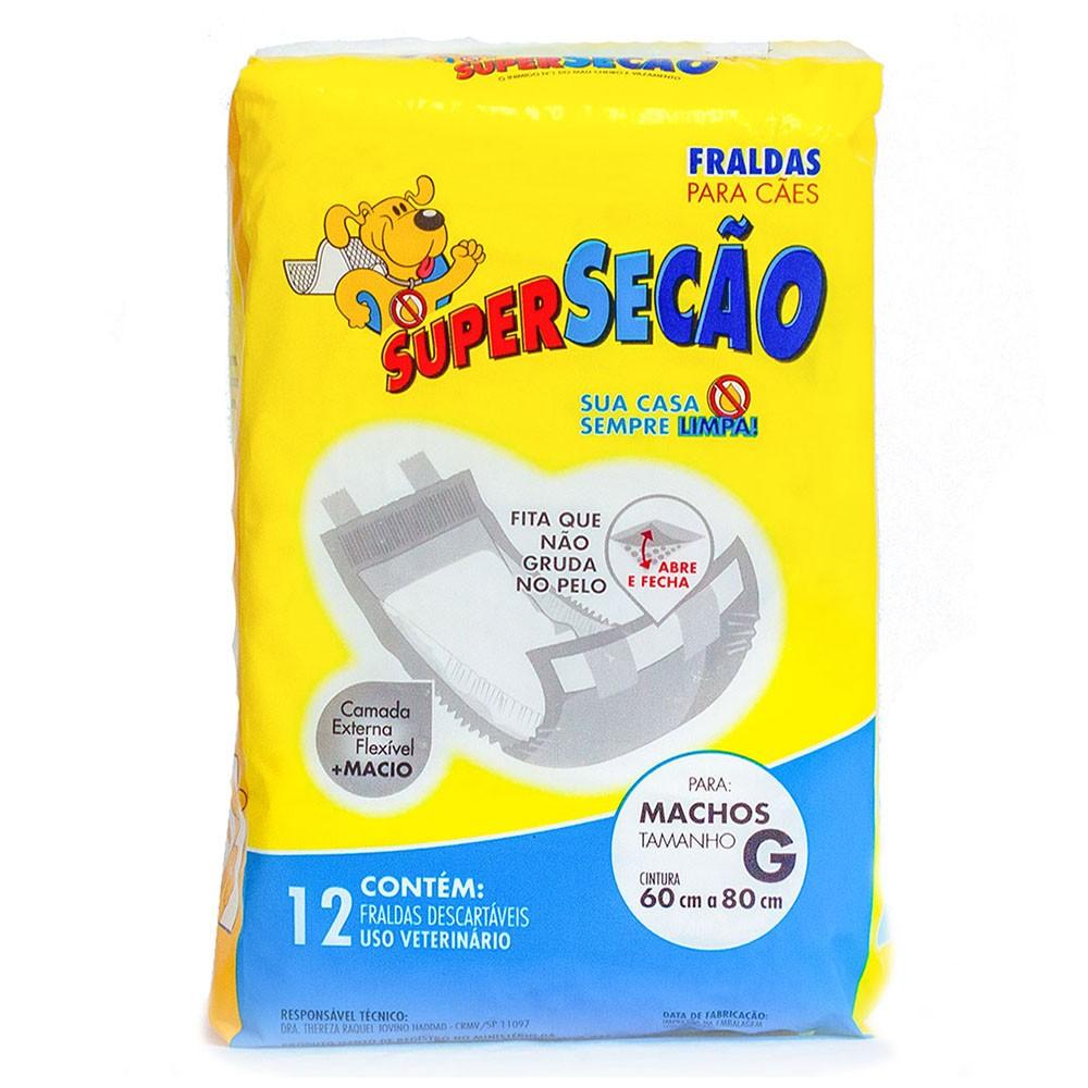 Fralda descartável Super Secão para Cão Macho - Petix (12 unidades) G