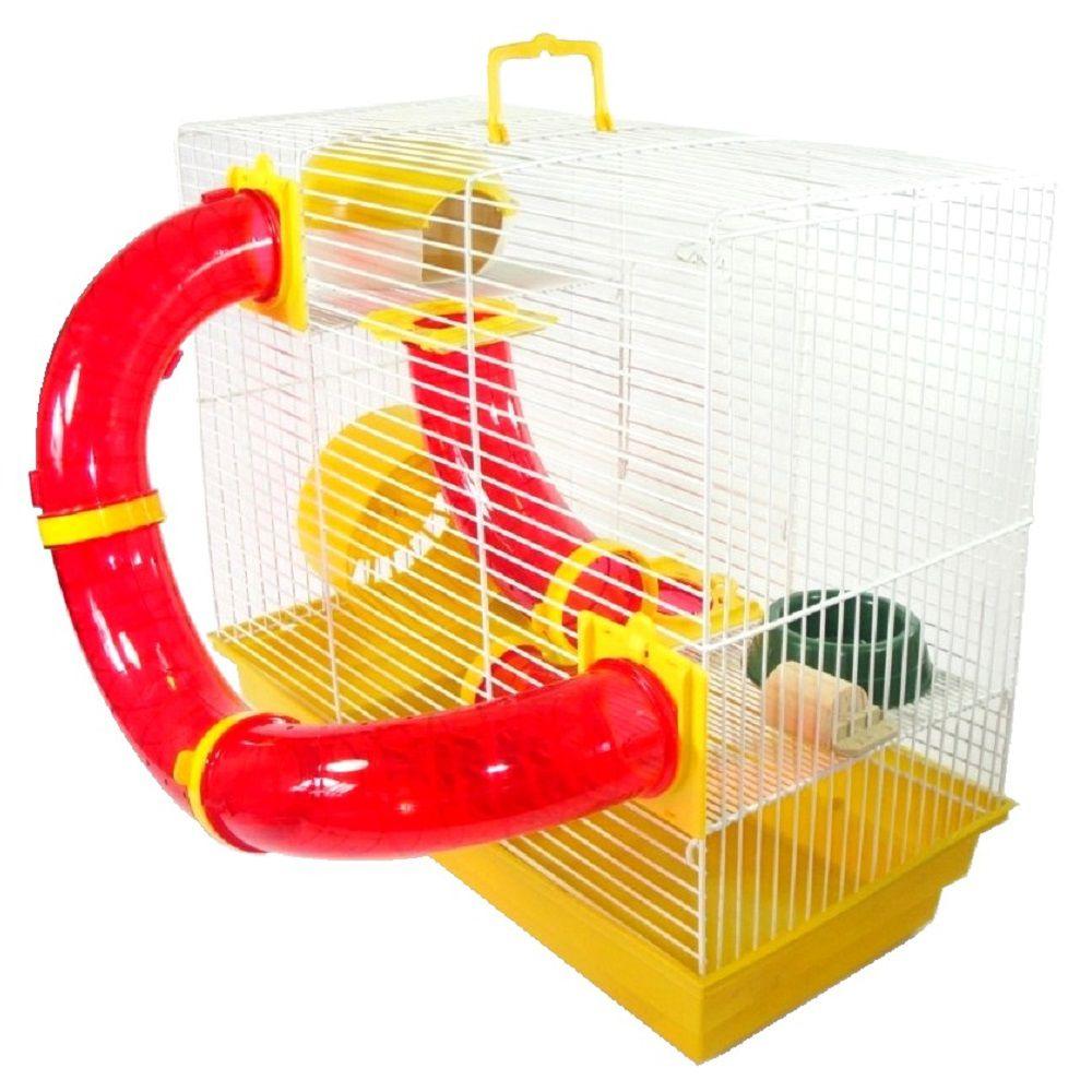 Gaiola Bragança Tubos Divertidos 3 Andares para Hamster - GR158 (Amarela)