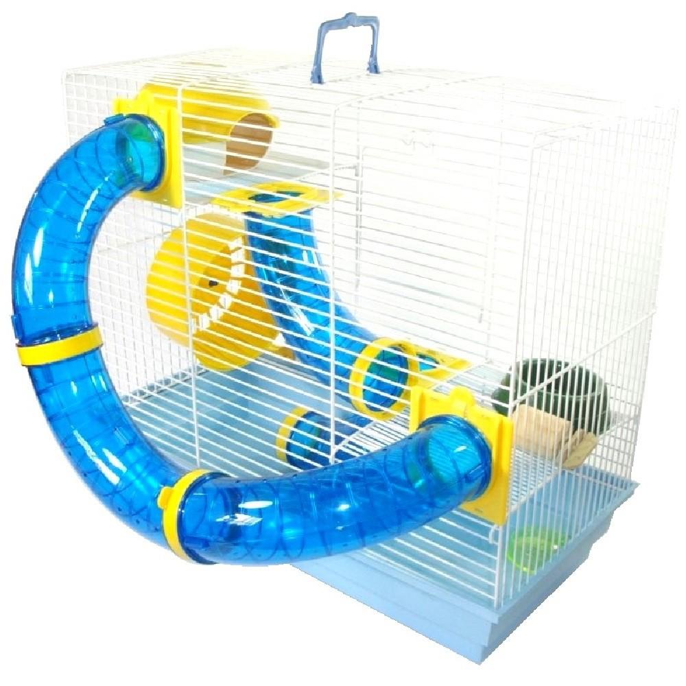 Gaiola Bragança Tubos Divertidos 3 Andares para Hamster - GR158 (Azul)