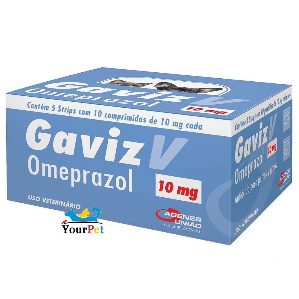 Gaviz V 10 mg Medicamento à base de Omeprazol para Cães e Gatos - Agener (10 comprimidos)