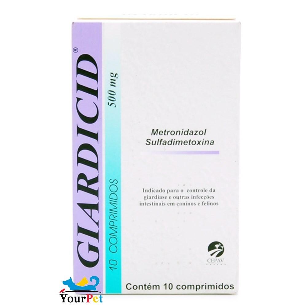 Giardicid 500mg Cepav - Metronidazol e Sulfadimetoxina controle de giardíase e outras infecções intestinais (10 comp)