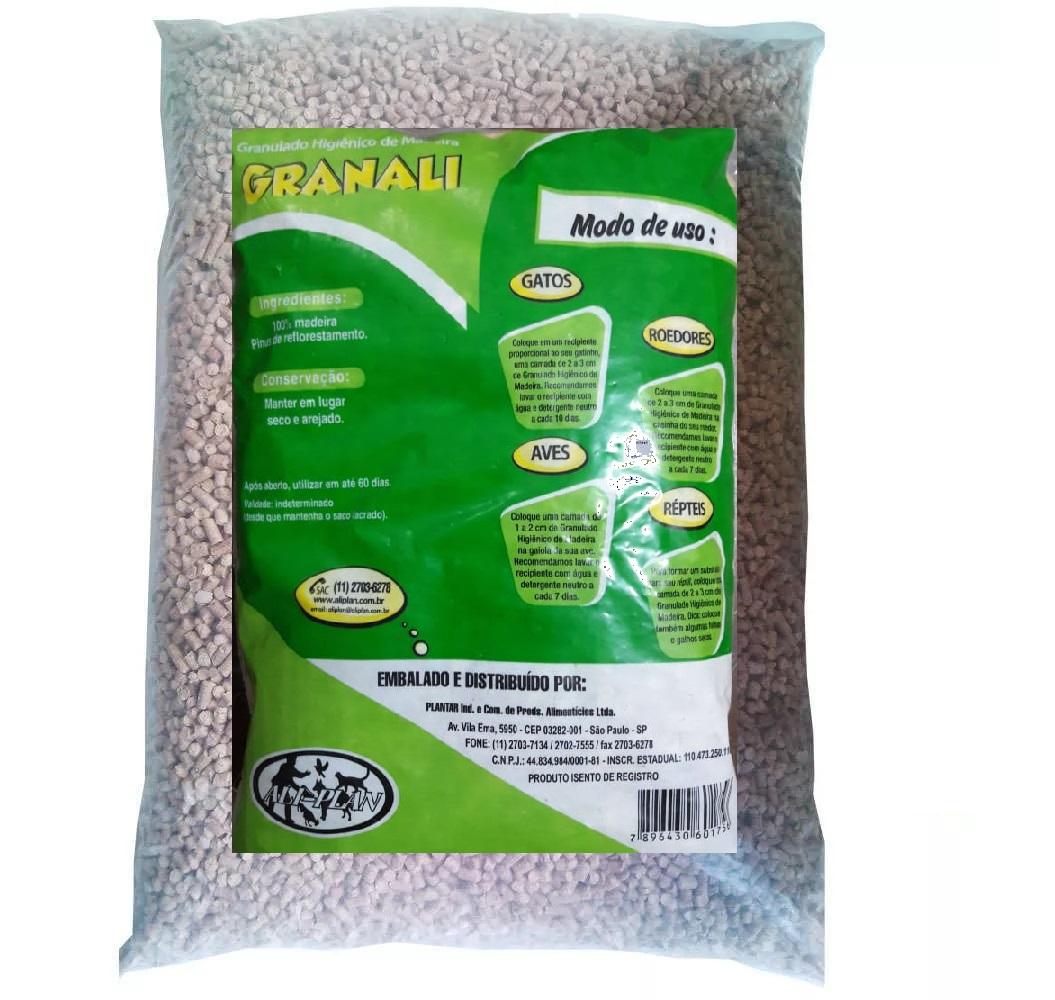 Granali Granulado Sanitário de Madeira para Gatos, Roedores, Répteis e Aves (4kg)
