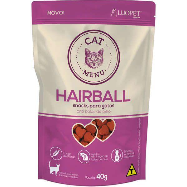 Hairball Cat Menu - Snacks para Gatos  Adultos - Anti bolas de pelo - Luopet (40g)
