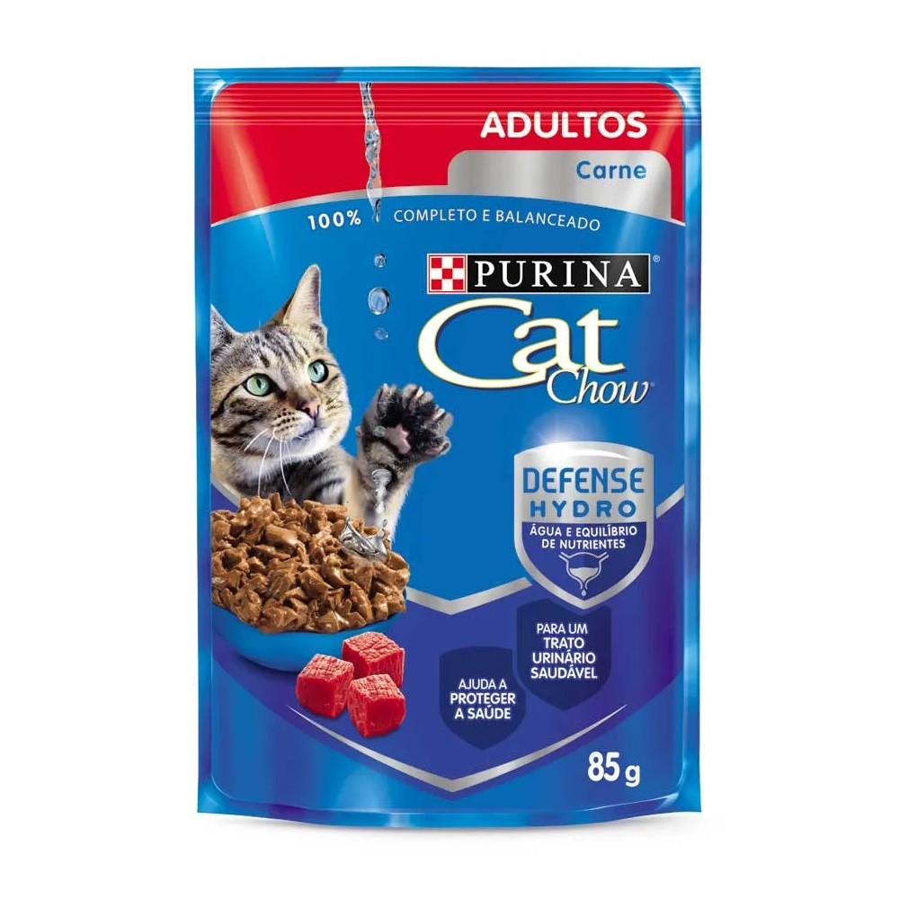 Kit com 15 - Alimento úmido Cat Chow Adultos Carne ao Molho para Gatos - Nestlé Purina (85g)