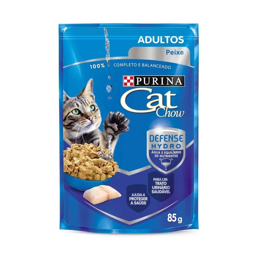 Kit com 15 - Alimento úmido Cat Chow Adultos Peixe ao Molho para Gatos - Nestlé Purina (85g)