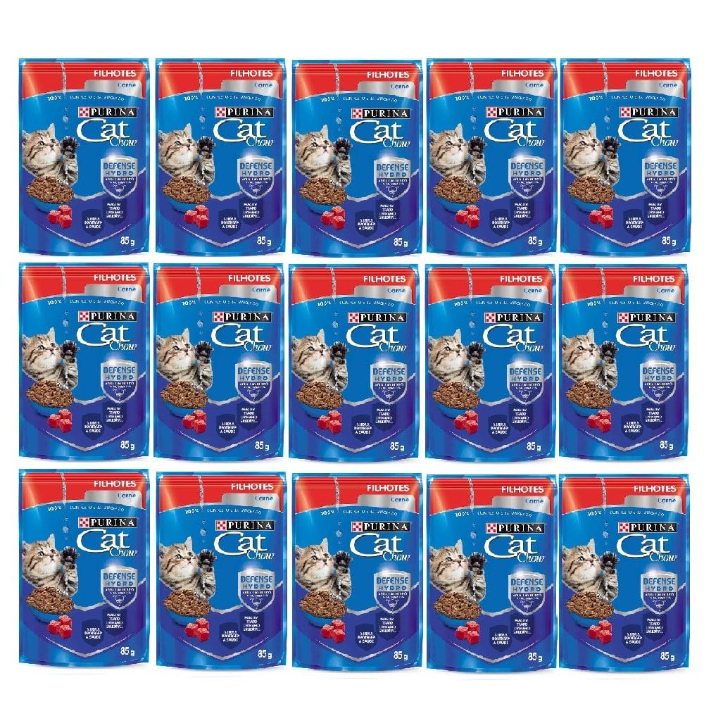 Kit com 15 - Alimento úmido Cat Chow Filhotes Carne ao molho para Gatos - Nestlé Purina (85g)