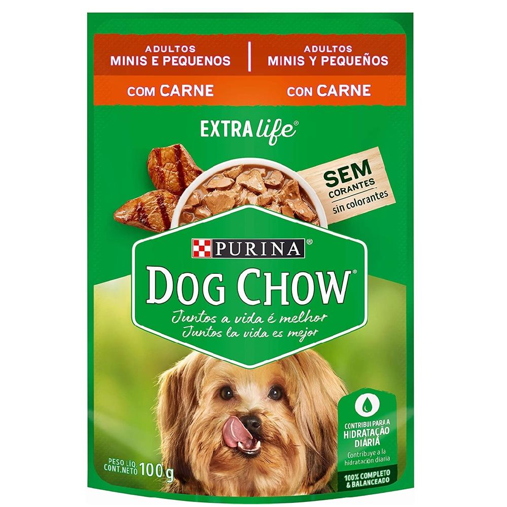 Kit com 15 - Alimento úmido Dog Chow Sachê Carne Raças Pequenas para Cães Adultos extra life- Nestlé Purina (100g)