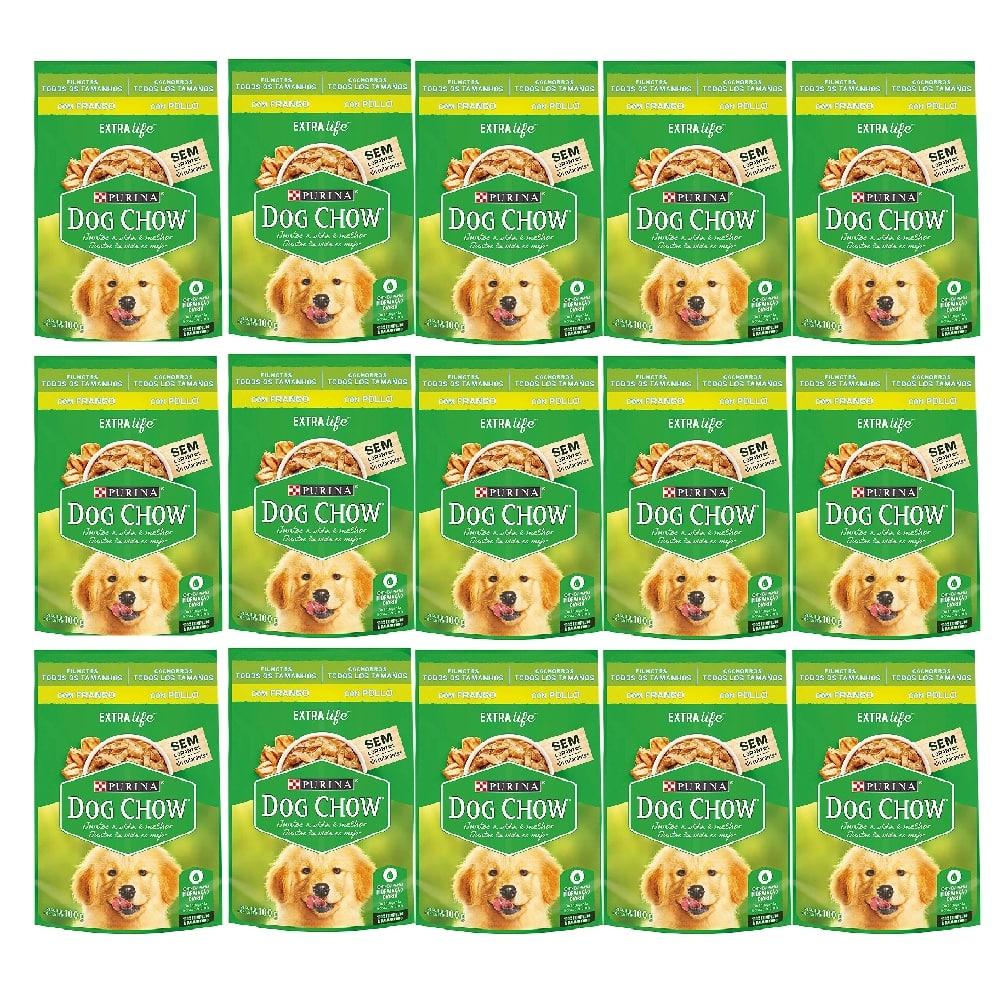 Kit com 15 - Alimento úmido Dog Chow Sachê Frango Filhotes todos os tamanhos extra life - Nestlé Purina (100g)
