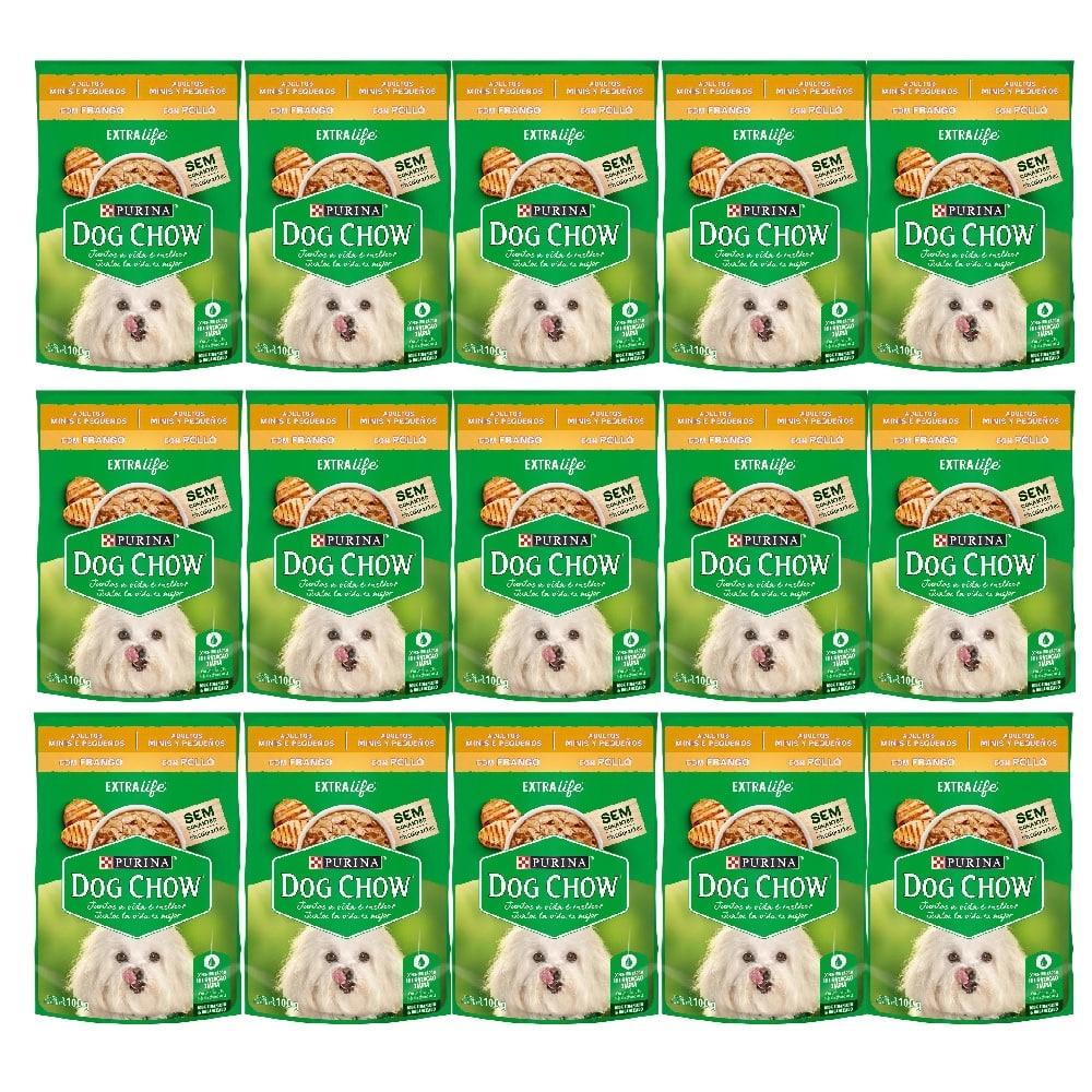 Kit com 15 - Alimento úmido Dog Chow Sachê Frango Raças Pequenas para Cães Adultos extra life - Nestlé Purina (100g)