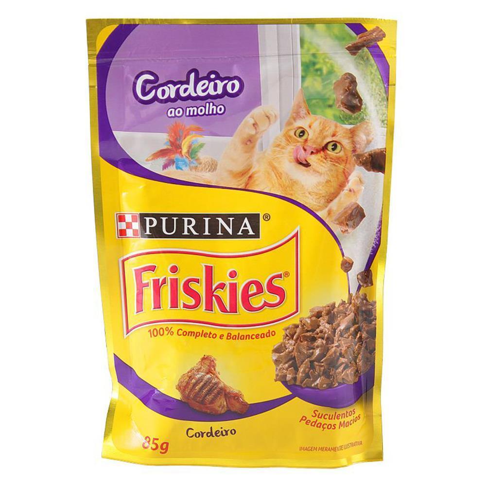Kit com 15 - Alimento úmido Friskies Sachê Cordeiro ao Molho para Gatos Adultos - Nestlé Purina (85g)