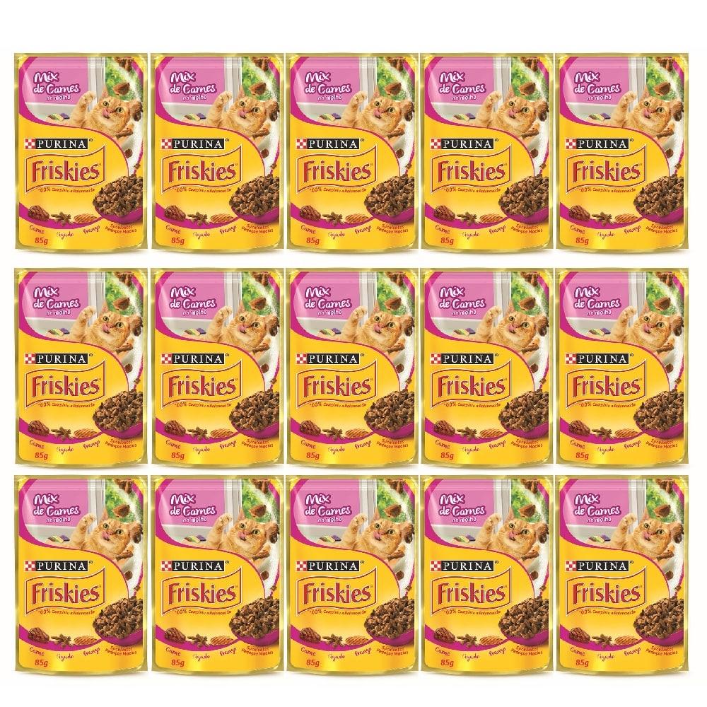 Kit com 15 - Alimento úmido Friskies Sachê Mix de Carnes ao Molho para Gatos Adultos- Nestlé Purina (85g cada)