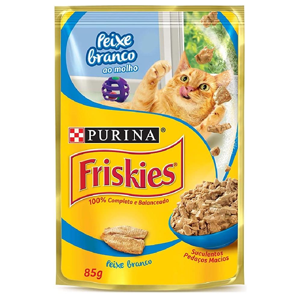 Kit com 15 - Alimento úmido Friskies Sachê Peixe Branco ao Molho para Gatos Adultos - Nestlé Purina (85g cada)
