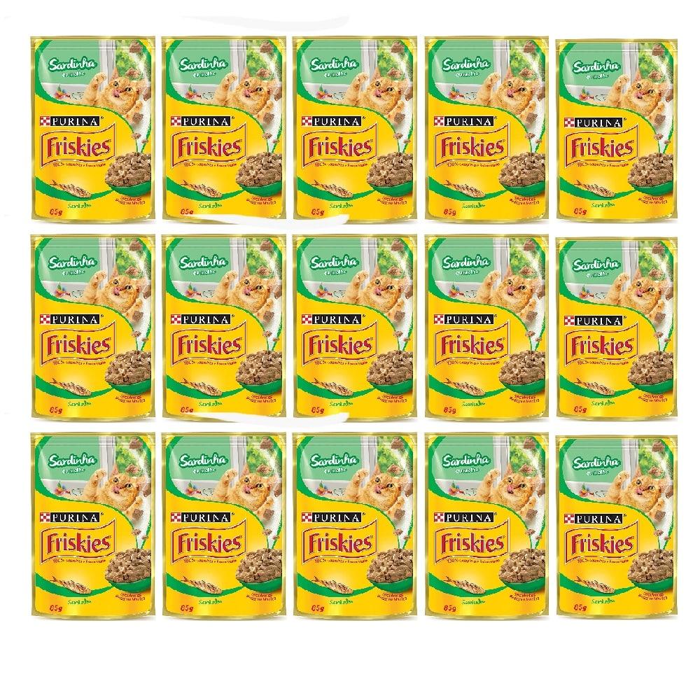 Kit com 15 - Alimento úmido Friskies Sachê Sardinha ao Molho para Gatos Adultos - Nestlé Purina (85g)