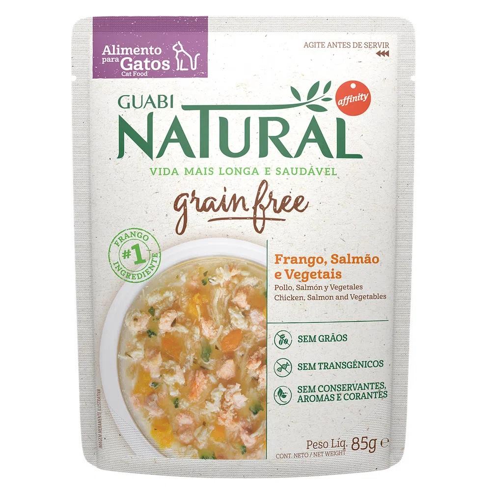 Kit com 18 - Alimento úmido Guabi Natural Grain Free Sachê Gatos Frango, Salmão e Vegetais - Affinity Guabi (85g)