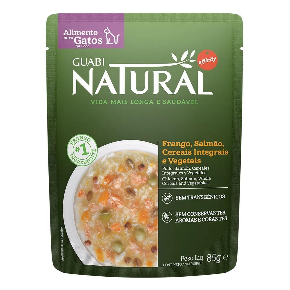 Kit com 18 -Alimento úmido Guabi Natural Sachê Gatos Frango, Salmão, Cereais integrais e Vegetais - Affinity Guabi (85g)