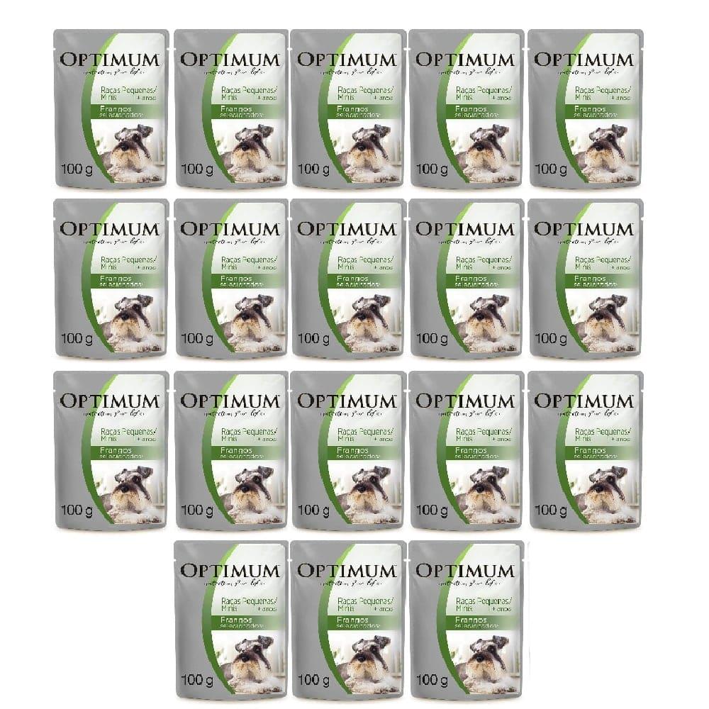 Kit com 18 - Alimento úmido Optimum Sachê Sabor Frango para Cães Adultos de Raças Pequenas / Minis  - Mars (100g)