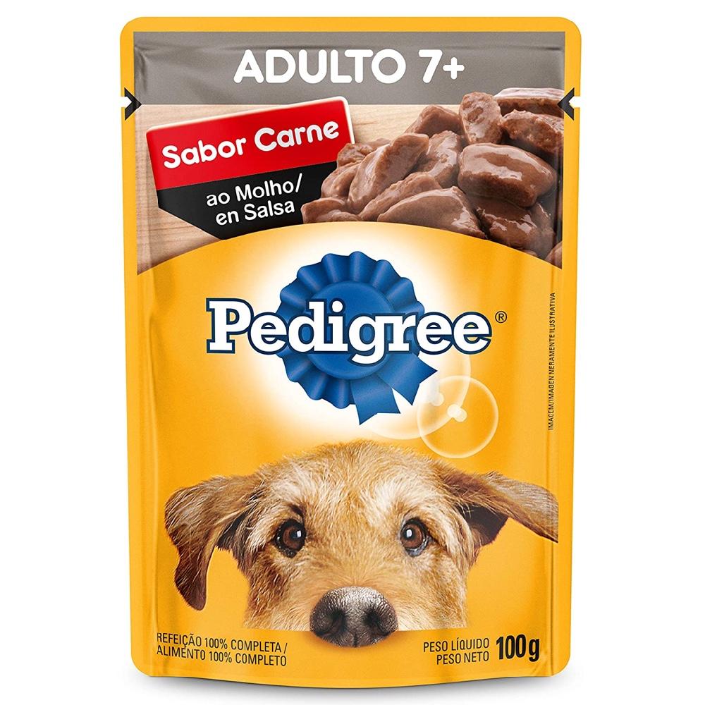 Kit com 18 - Alimento úmido Pedigree 7+ Sachê Sabor Carne ao Molho para Cães com mais de 7 anos - Mars (100g)