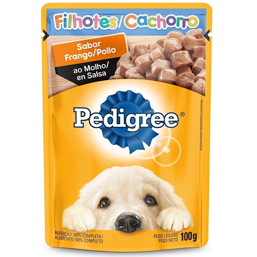Kit com 18 - Alimento úmido Pedigree Sabor Frango ao Molho para Cães Filhotes - Mars (100g)