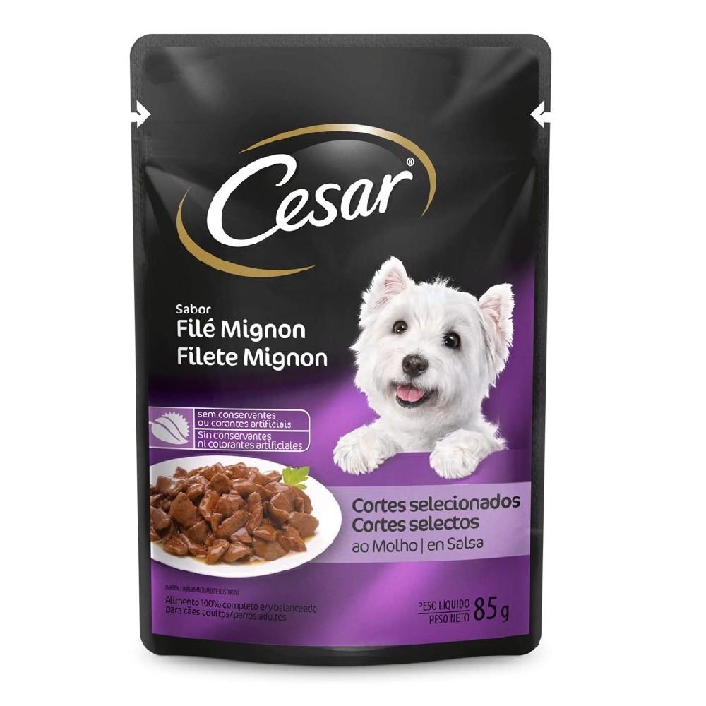 Kit com 20 - Alimento úmido Cesar Cortes Selecionados Filé Mignon Ao Molho para Cães Adultos - Mars (85g)