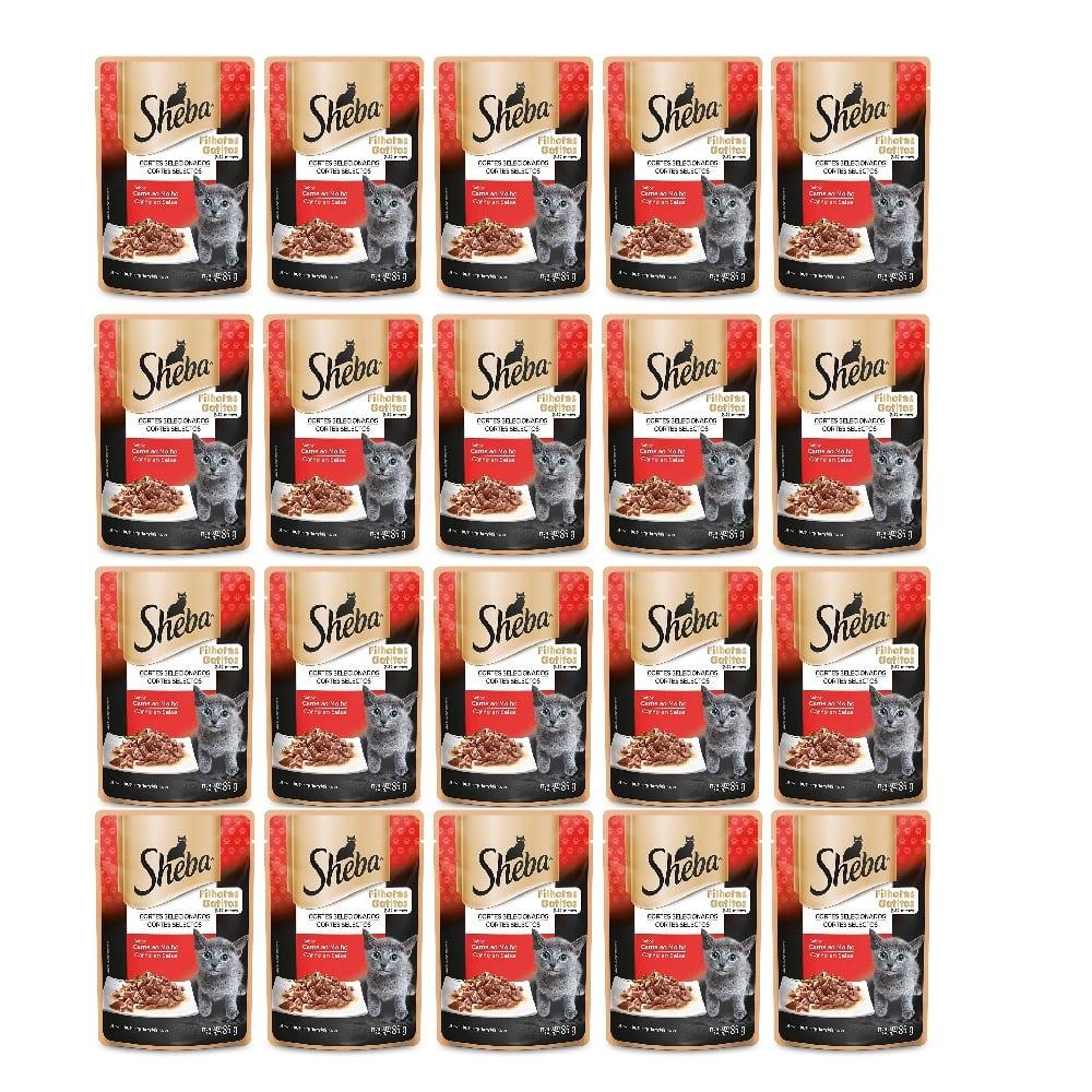 Kit com 20 - Alimento úmido Sheba Cortes Selecionados Carne ao Molho para Gatos Filhotes - Mars (85g)