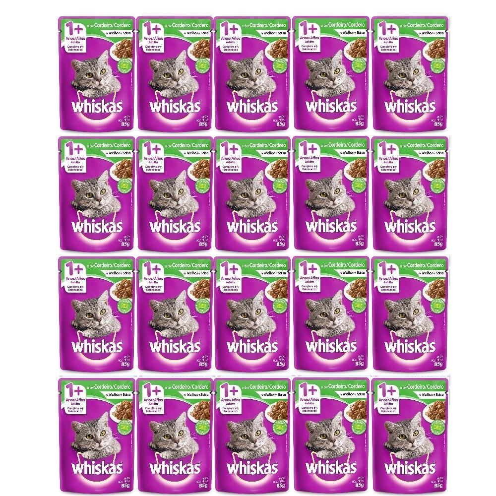 Kit com 20 - Alimento úmido Whiskas - Sachê Sabor Cordeiro ao Molho para Gatos Adultos - Mars (85g)