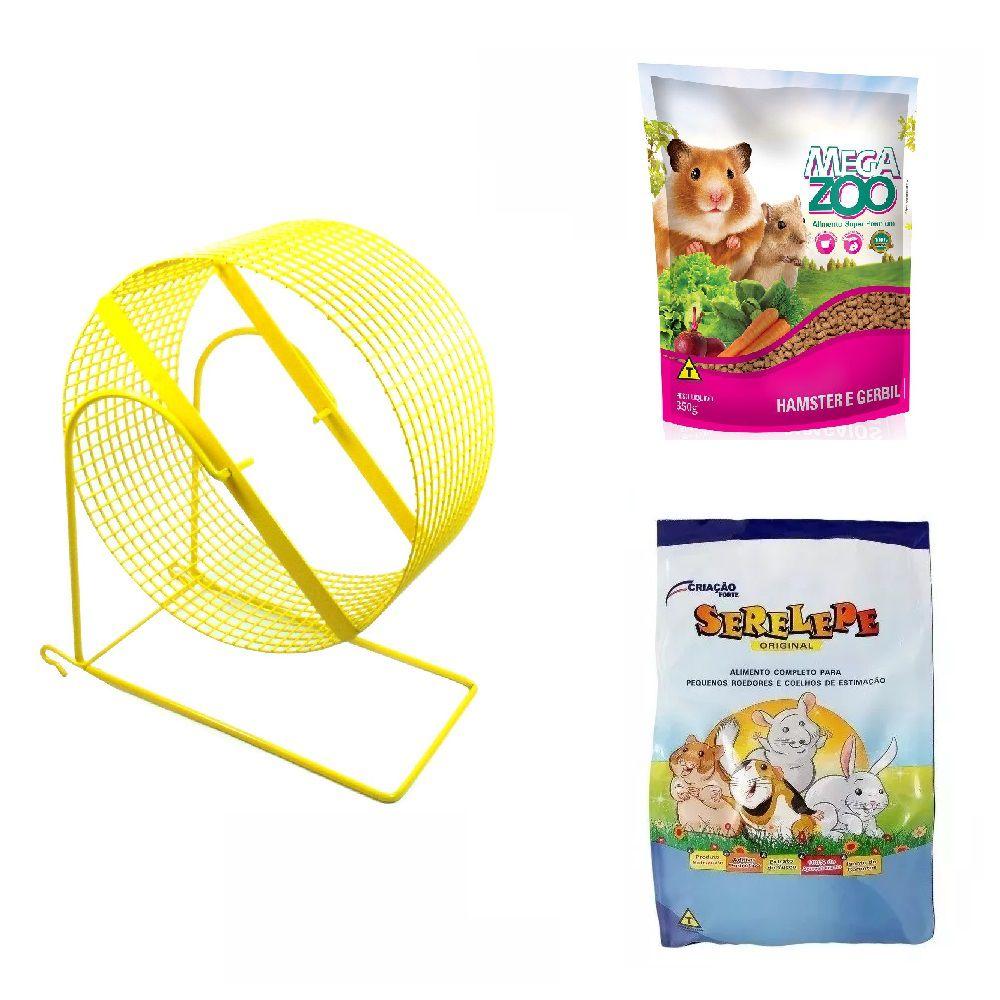 Kit para Hamster e Gerbil - Alimento Mega Zoo 350g Alimento Serelepe 750g Gira-gira 20 cm Amarelo