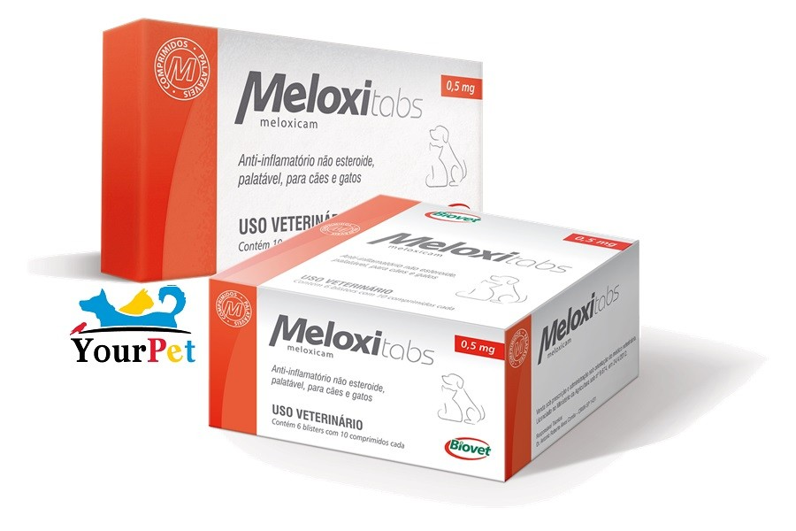 Meloxitabs 0,5 mg - Anti-inflamatório palatável para Cães e Gatos à base de Meloxicam - Biovet (10 comprimidos)