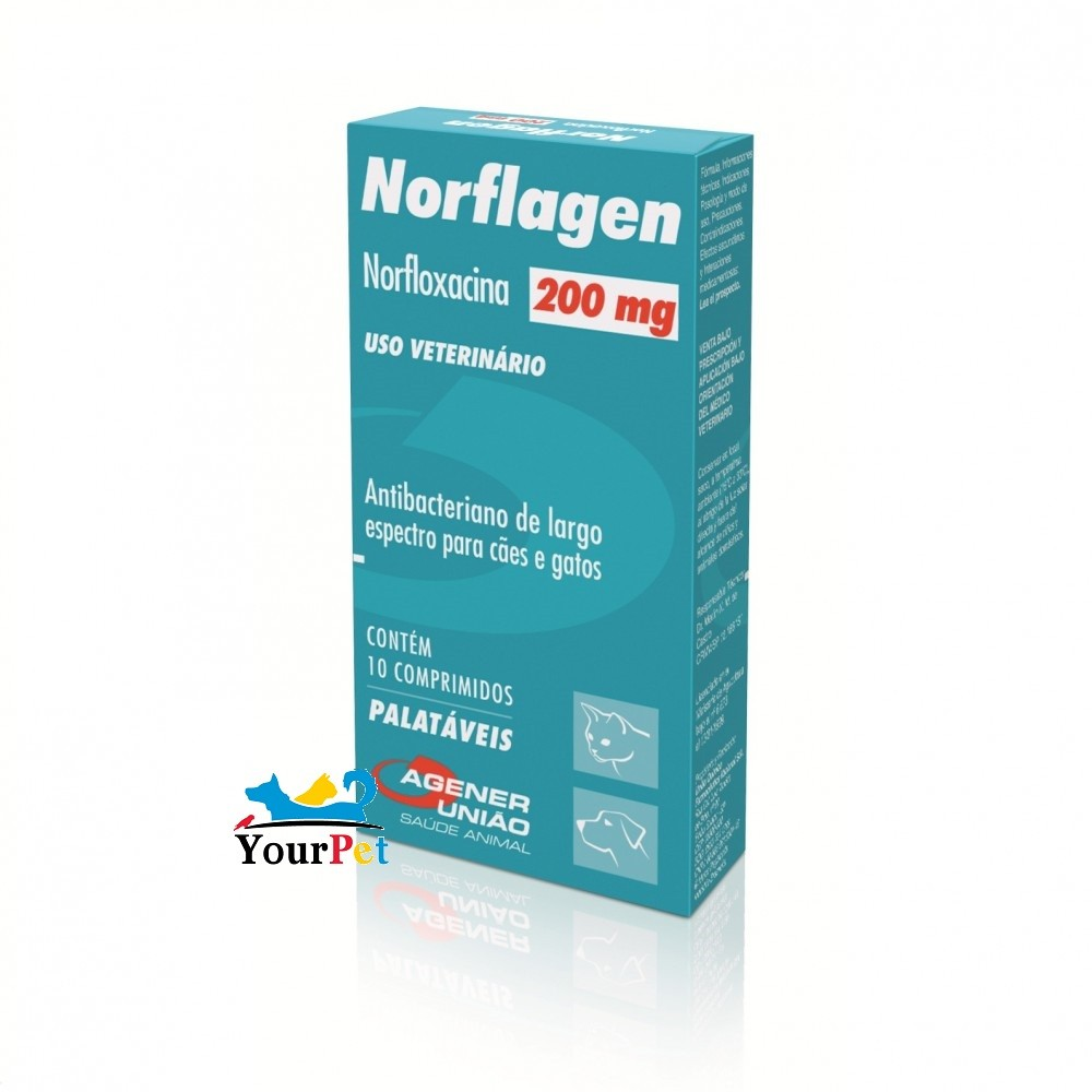 Norflagen 200mg (Norfloxacina) - Antibacteriano e largo espectro para Cães e Gatos - Agener (10 comprimidos palatáveis)