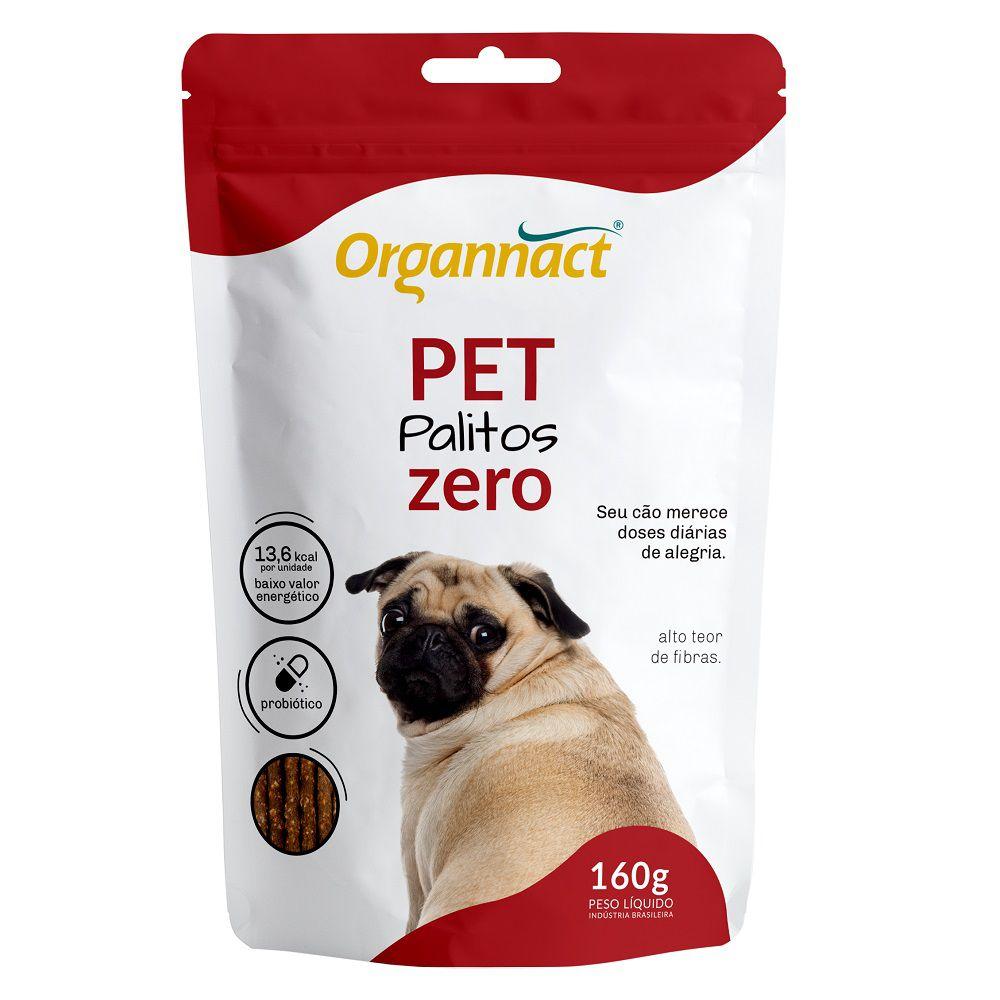 Pet Palitos Zero - Alto Teor de Fibra e Baixa Caloria (160 g) - Organnact + Chaveiro de brinde