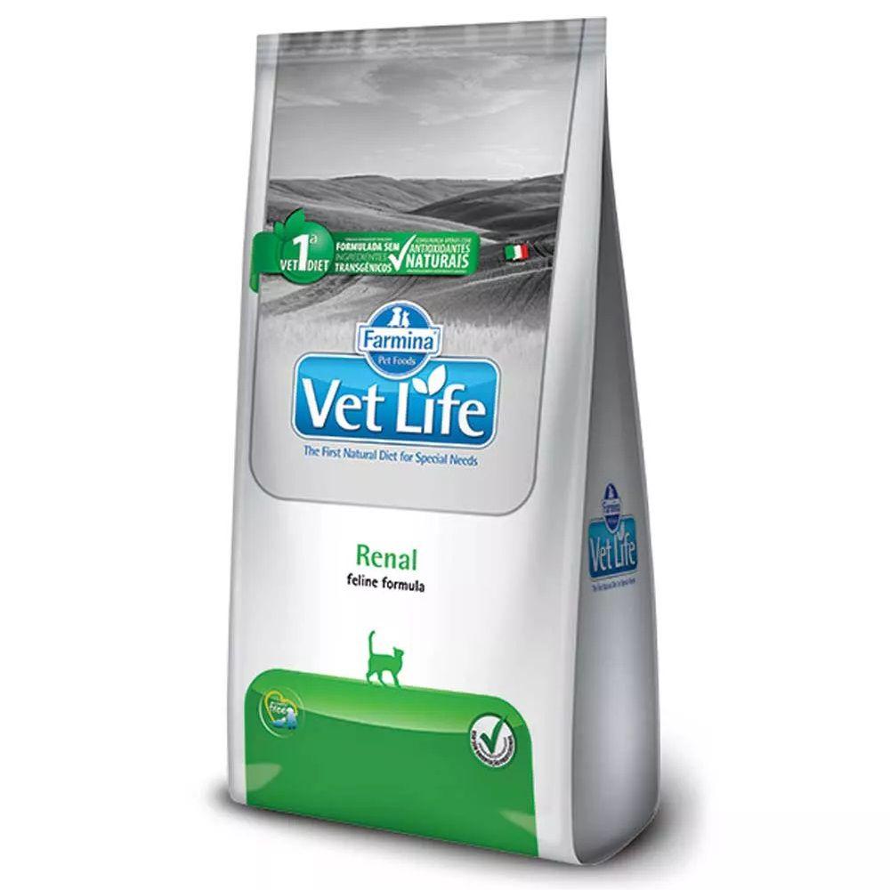 Ração Farmina Vet Life Feline Renal para Gatos com doença Renal Crônica ou Aguda (2 kg)