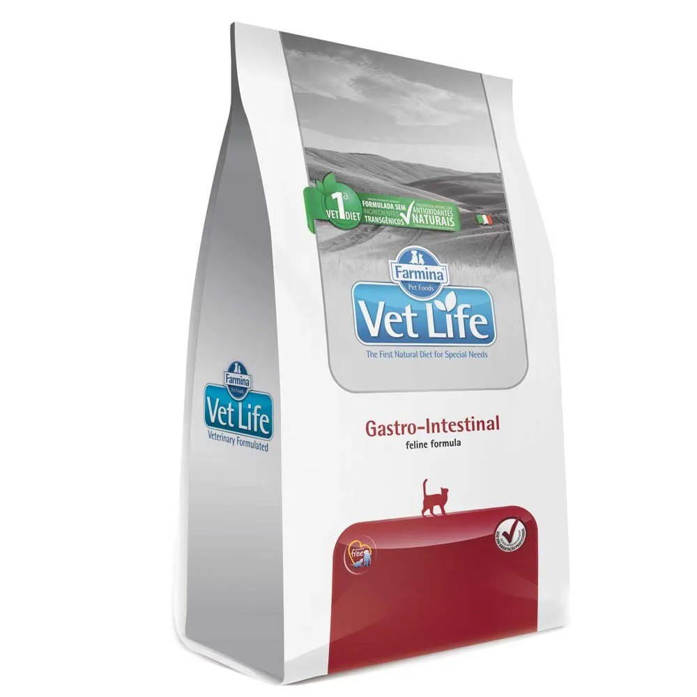 Ração Farmina Vet Life Gastro Intestinal Gatos com dificuldade digestória e absorção intestinal (2kg)