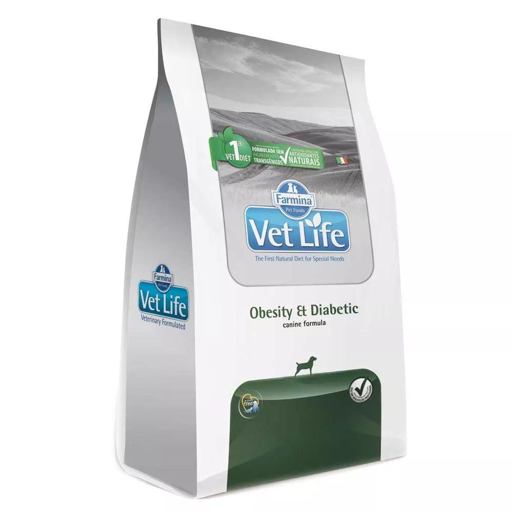 Ração Farmina Vet Life Obesity & Diabetic para Cães Adultos Obesos e/ou com diabetes (2 kg)