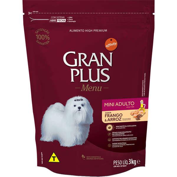 Ração Gran Plus Cães Adultos Miniaturas e Pequenos Frango e Arroz (3 kg) - Affinity Guabi