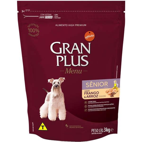 Ração Gran Plus Cães Senior Frango e Arroz para Cães com mais de 7 anos (3 kg) - Affinity Guabi