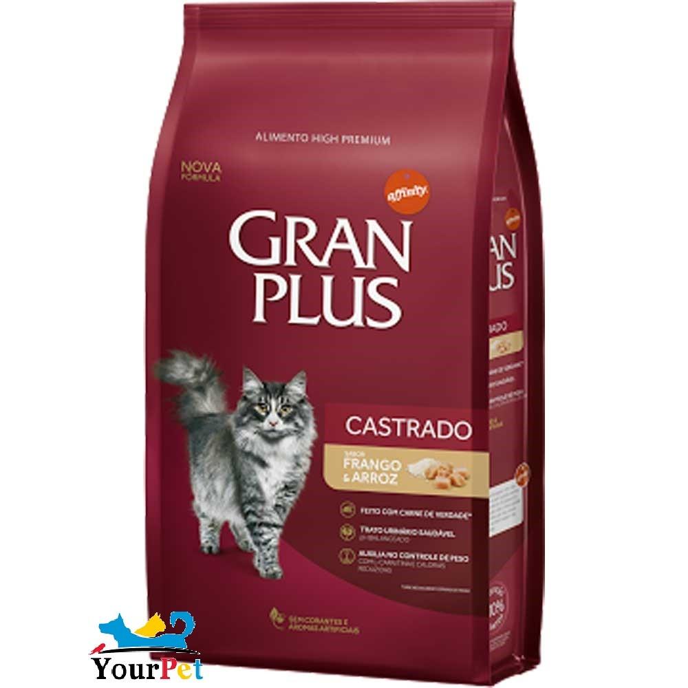 Ração Gran Plus Frango e Arroz para Gatos Castrados (3 kg) - Guabi