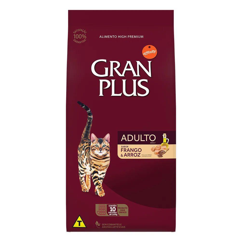 Ração Gran Plus Gatos Adultos Frango e Arroz (10 pacotes individuais de 1kg cada) - Affinity Guabi