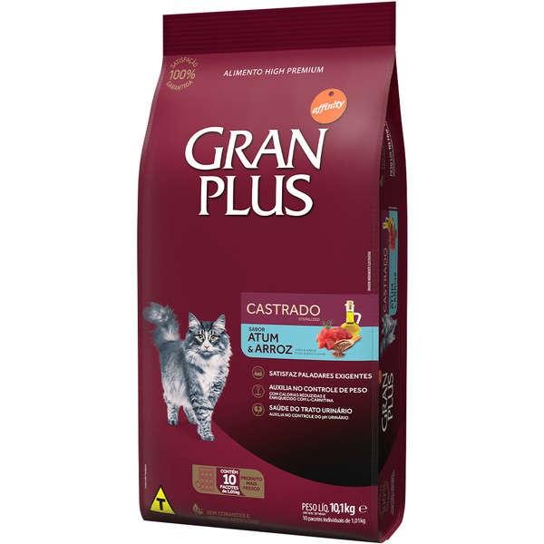Ração Gran Plus Gatos Castrados Atum e Arroz (10 pacotes de 1 kg cada) - Affinity Guabi