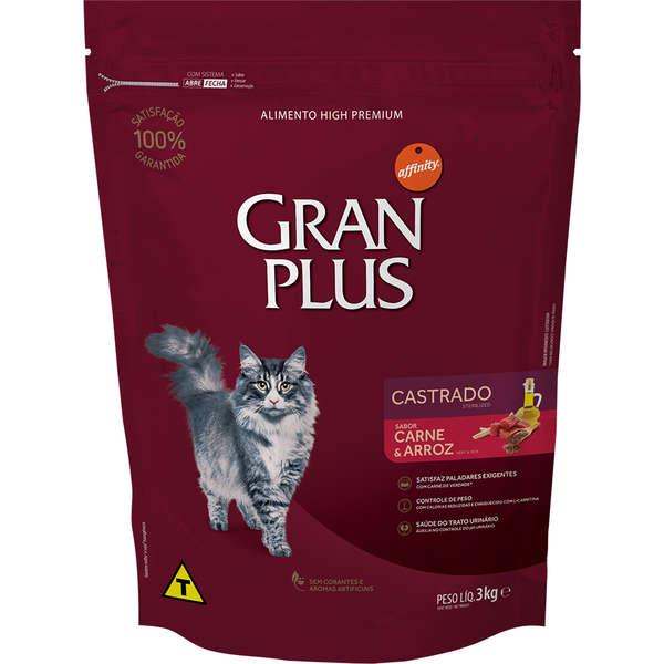 Ração Gran Plus Gatos Castrados Carne e Arroz (3 kg) - Affinity Guabi