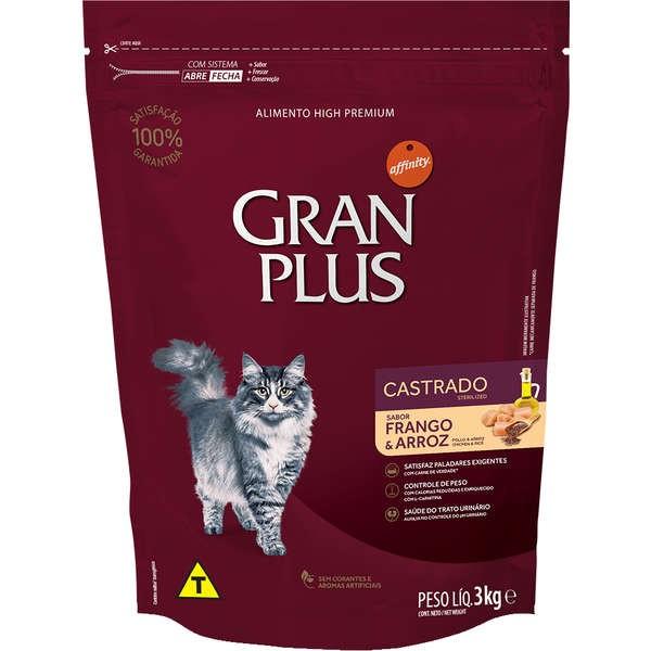 Ração Gran Plus Gatos Castrados Frango e Arroz (3 kg) - Affinity Guabi