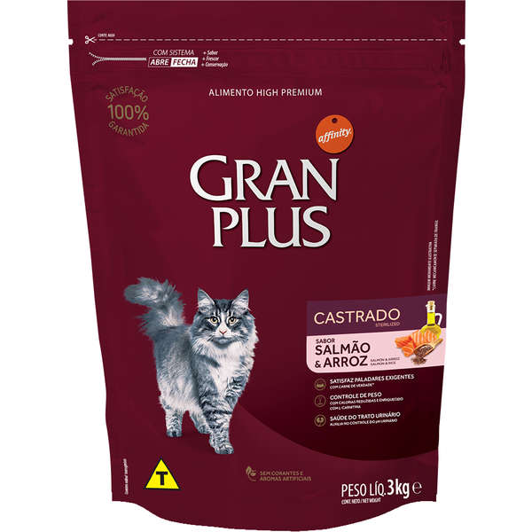 Ração Gran Plus Gatos Castrados Salmão e Arroz (3 kg) - Affinity Guabi