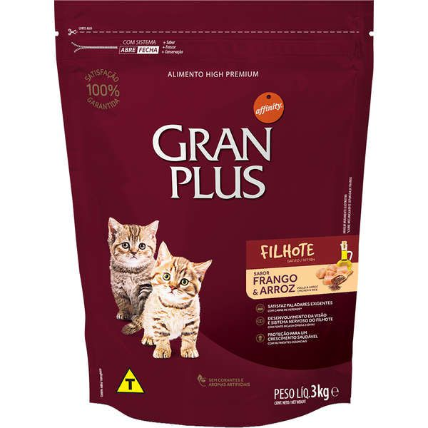 Ração Gran Plus Gatos Filhotes Frango e Arroz (3 kg) - Affinity Guabi
