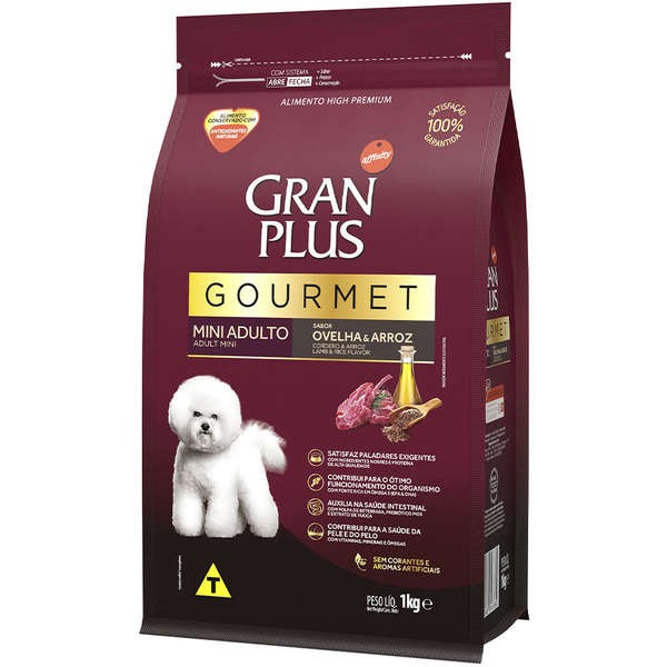 Ração Gran Plus Gourmet Cães Adultos Miniaturas e Pequenos Ovelha e Arroz (1 kg) - Affinity Guabi
