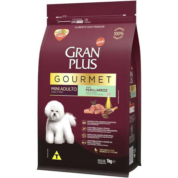 Ração Gran Plus Gourmet Cães Adultos Miniaturas e Pequenos Peru e Arroz (1 kg) - Affinity Guabi